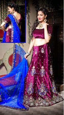 Dark Magenta Velvet Wedding Lehenga Choli With Fantastic Blue Dupatta LD002405