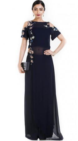 Dark Navy Blue Cut Out Shoulder With Palazzo SUUDS53130