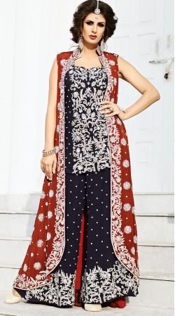 Dark Navy Blue Silk Designer Palazzo Suit With Red Floor Length Jacket BP900731