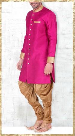 Dark Pink Banarasi Silk Party Wear Men Indo Western Kurta Pajama 2MV1995021