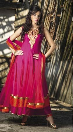 Dark Pink Net Ankle Length Anarkali Suit SU9801