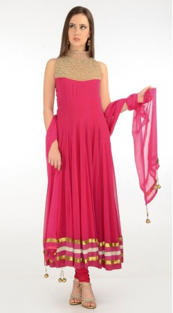 Dark Pink Net Long Length Anarkali Suit SU5701