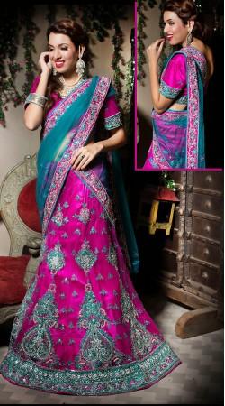 Dark Pink Net Silver Zardosi Wedding Lehenga Choli LD002305