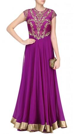 Dark Purple Georgette And Silk Floor Length Anarkali Suit SUUDS44020