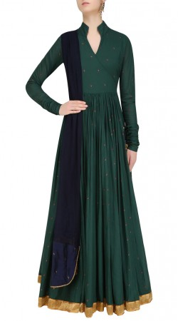 Dark Teal Silk Designer Angrakha Suit With Churidar Sleeves SUUDS41820