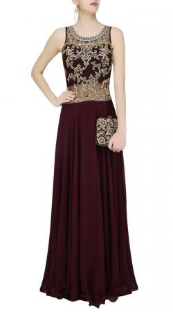 Dark Wine Georgette Designer Gown Style Suit SUUDS45826