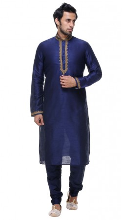 Dashing Blue Silk Neck Embroidered Kurta With Churidar Bottom GR138301