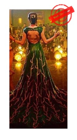 Dazzling Anushka Sharma Green Replica Long Trail Gown With Gold Detailing BP1620