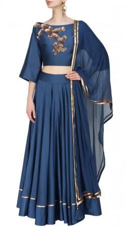 Dazzling Blue Dupion Silk Lehenga Floral Work Choli SUUDL13316