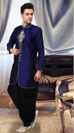 Dazzling Blue Resham Brocade Indowestern Style Sherwani DTINDO15150