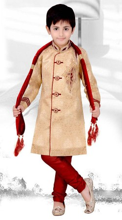Dazzling Cream Premium Fabric Kid Boys Sherwani With Red Bottom DT2866A53