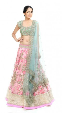 Dazzling Floral Rose Print Pink Net Lehenga With Embroidered Choli BP3020