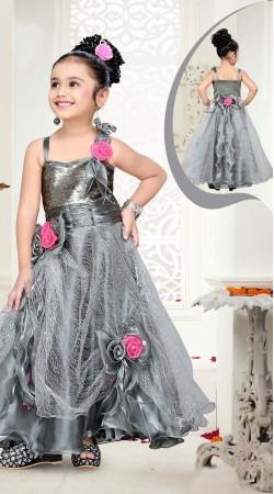 Dazzling Floral Rose Work Silver Net Kids Girl Designer Gown DTK2852