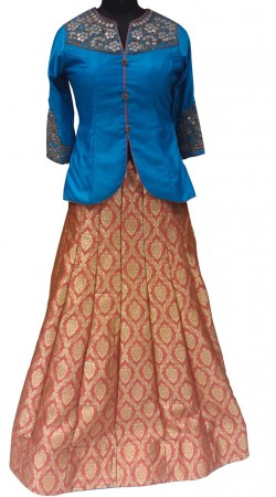 Dazzling Gajri Brocade Designer Lehenga With Mirror Work Silk Choli LD000207