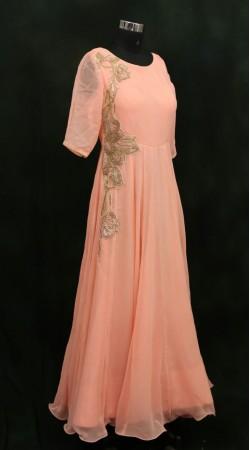 Dazzling Georgette Peach Designer Floor Length Gown SMA302