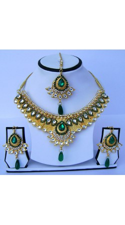 Dazzling Golden Plated Stone Work Necklace Set With Tika N60799