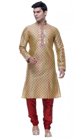Dazzling Golden Silk Thread Work Mens Kurta With Red Churidar GR134605