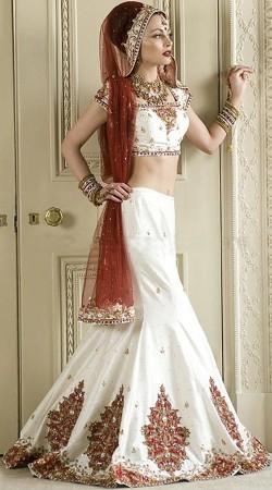 Dazzling Heavy Work Ivory Indian Bridal Lehenga Choli