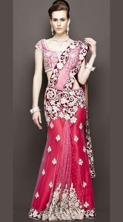 Dazzling Heavy Work Pink Bridal Designer Lehenga SM2104