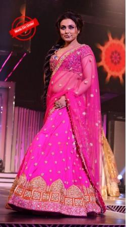 Dazzling Magenta Net Rani Mukerji Bollywood Replica Lehenga Choli BP1319