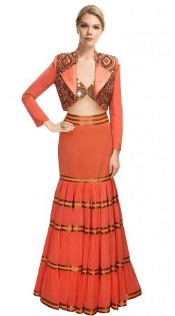 Dazzling Orange Silk Koti Style Crop Top Lehenga SUUDL10315