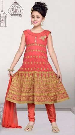 Dazzling Peach Premium Fabric Kids Girl Embroidered Anarkali Suit DTK352