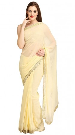 Dazzling Pearl Moti Border Cream Bridesmaid Saree With Blouse 2YS119560