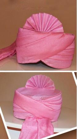 Dazzling Pink Chanderi Silk Plain Safa For Barati ZP0108