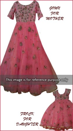 Dazzling Salmon Net Gown For Pretty Mother And Cute Daughter BP0326