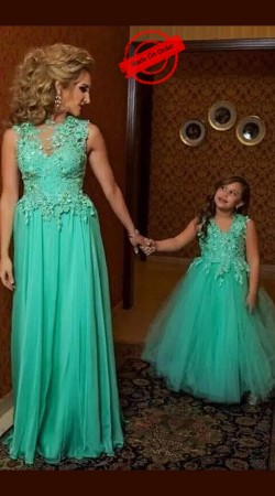 Dazzling Sea Green Net Like Mother Like Daughter Cinderella Gown BP4316