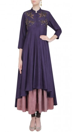 Dazzling Silk Purple Designer Double Layered Style Kameez SUMS24517