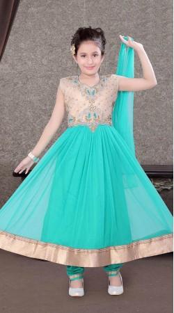 Dazzling Sky Blue Kasab Work Kids Girl Long Anarkali Suit DT10448