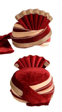 Decent Look Cream And Red Velvet Wedding Groom Pagri ZP0211