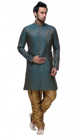 Decent Looks Teal Blue Brocade Designer Sherwani With Beige Breeches Pant GR131804