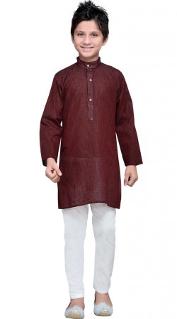 Deep Maroon Cotton Kurta Pajama For Kids Boy GR10808