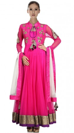 Deep Pink Net And Silk Ankle Length Anarkali Suit SU5901