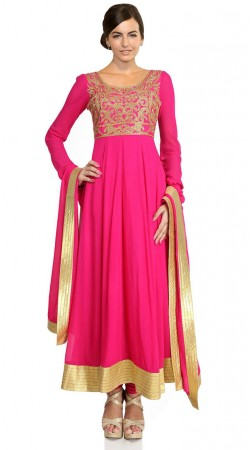 Deep Pink Net Ankle Length Anarkali Suit SU601