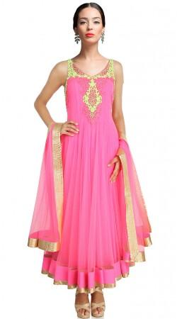 Deep Pink Net Ankle Length Anarkali Suit SUUDS20102