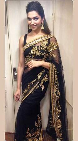 Deepika Padukone In Black Saree Golden Work SEALTO10K