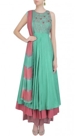 Delicate Double Layered Anarkali Suit In Sea Green Color And Silk Fabric SUMS24717