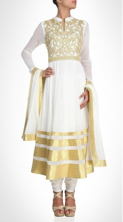 Delicate Georgette White Long Anarkali Suit With Golden Border SUMS20217