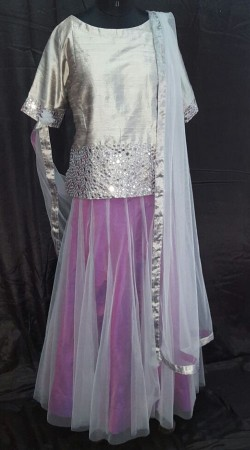 Delicate Grey Silk Glass Work Top With Purple Net Designer Skirt SMEXC3202