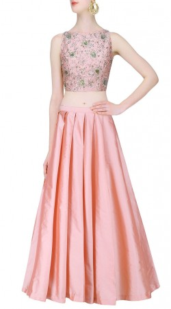 Delicate Pink Silk Designer Pleats Skirt With Heavy Work Choli SUUDL21419