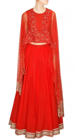 Delicate Red Designer A-Line Lehenga With Floral Work Cape Style Choli SUUDL18418
