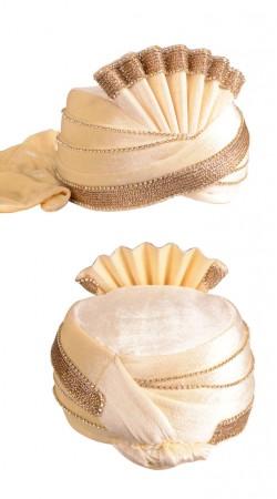 Delicate Stone Work Cream Velvet Designer Wedding Turban ZP1011