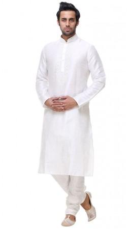 Delicate White Silk Neck Thread Embroidered Mens Kurta With Churidar GR134305