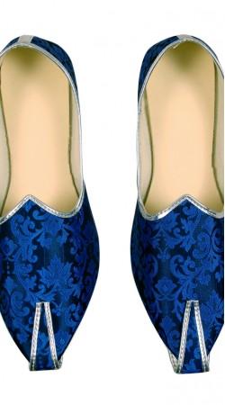 Delightful Brocade Blue Party Wear Mens Mojari GR10702