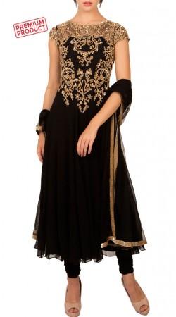 Designer Black Zari And Sequins Work Anarkali Suit BP4534