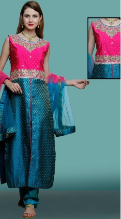 Designer Blue Silk Front Cut Kameez With Parallel Pant DT11461