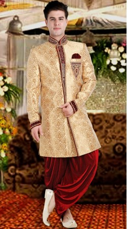 Designer Cream Brocade Patiala Sherwani 3FD8413305